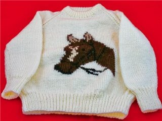 Brown Horse Head Motif on Cream Jumper