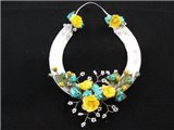Nixneedles Turquoise and yellow wedding horseshoe