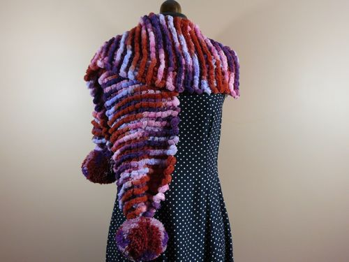 Pompom Scarf Free Knitting Pattern Knitted Scarf Knitted