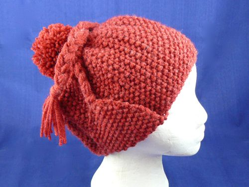 Moss Stitch Heidi Hat | knitted Bobble hat | knitted hat | Free