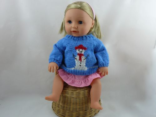 Snowman Jumper For 16 Doll Knitted Tiny Tears Clothes Free