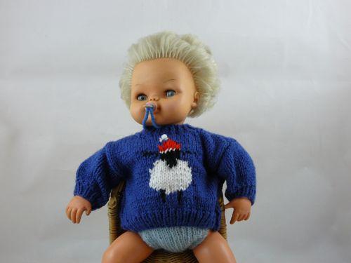 Sheep In Santa Hat Dolls Jumper Free Knitting Patterns Knitted