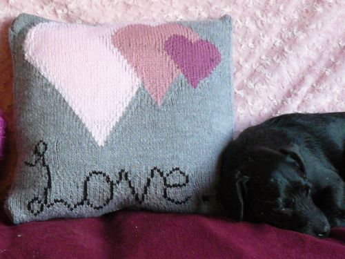Love Themed Cushion Knitted Cushions Valentines Free Knitting