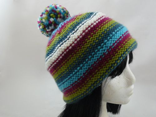 Adult s Striped Bobble Hat in Reverse Stocking Stitch 091880684a7