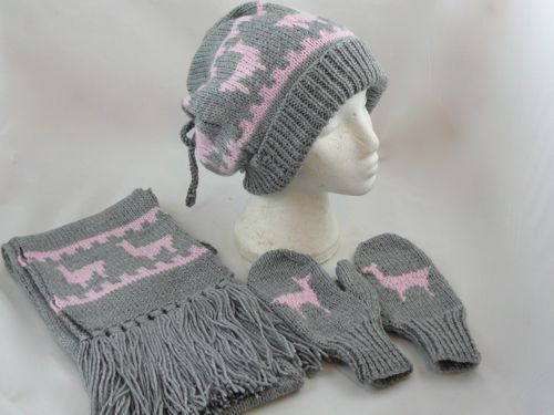 Llama Hat Scarf Mittens Set Free Knitting Pattern Knitted Hat