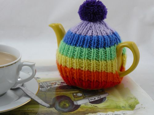 Rainbow Tea Cosy Knitted Tea Cosy Free Knitting Pattern