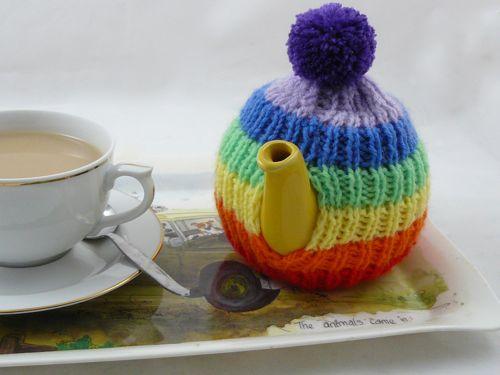 Rainbow Tea Cosy Knitted Tea Cosy Free Knitting Pattern