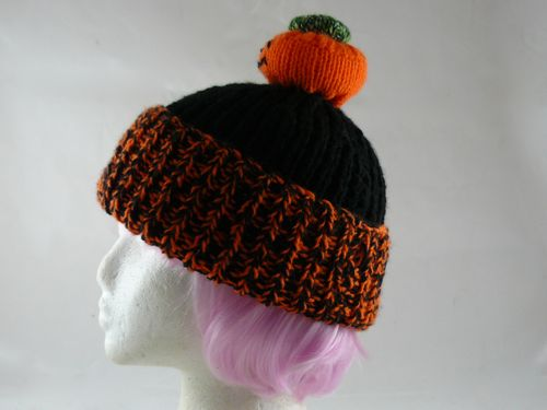 Adults Pumpkin Hat Knitted Bobble Hat Free Novelty Knitting