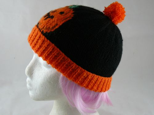 Childs Pumpkin Bobble Hat Free Novelty Knitting Pattern Free