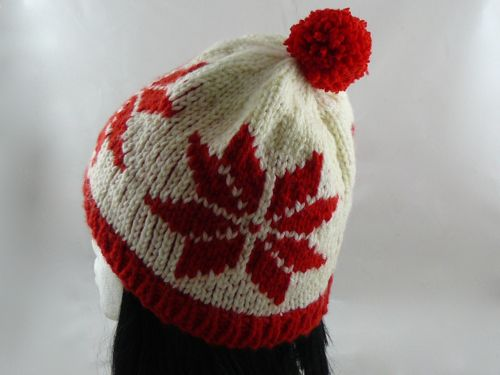 Adults Poinsettia Bobble Hat Knitted Bobble Hat Free Knitting