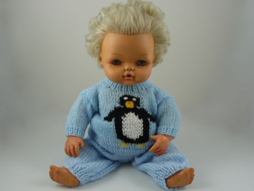 Penguin Trouser Suit For 16 Doll Knitted Tiny Tears Clothes