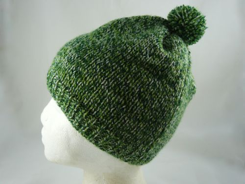 Childs Folded Top Bobble Hat | Knitted Bobble Hat | Free Knitting ...