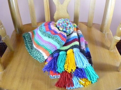 Striped Scarf And Hat Knitted Bobble Hat Knitted Hat Knitted