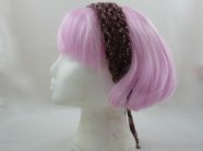 Mesh hair band with beaded ties