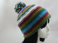 Adults striped bobble hat