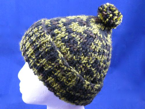 Knitting Pattern For Bobble Hat : Adults Ribbed Bobble Hat knitted bobble hat knitted hat free knitting p...
